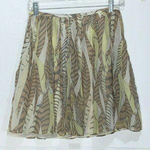 Club Monaco Short Skirt 100% Silk Ivory brown Sz 0